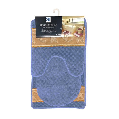 Athena Waffle Texture Design 3 Piece Bathroom Rug Set, Bath Rug, Contour Rug, Lid Cover
