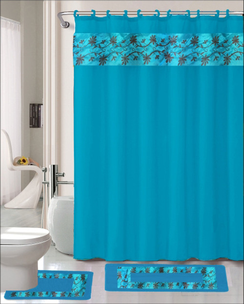 floral embroidery thea 15 pc bathroom accessory set shower curtain ring hooks bath