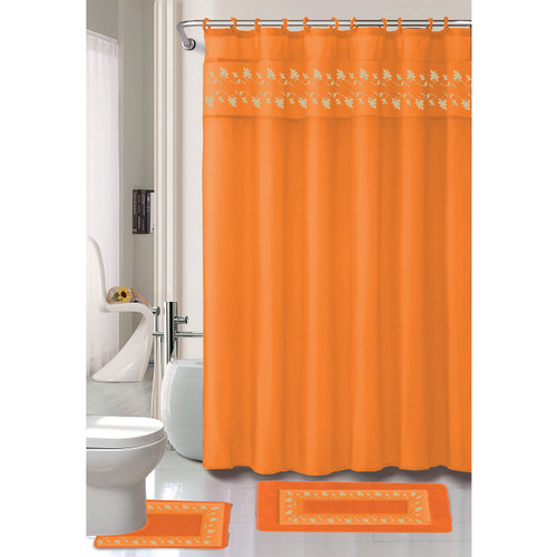 Floral Embroidery Thea 15 Pc Bathroom Accessory Set, Shower Curtain, Ring Hooks, Bath Mat, Contour Rug