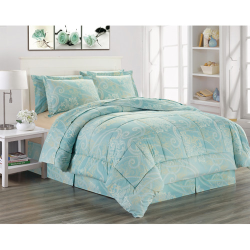 Ultra Soft Microfiber 8 PC Royal Scroll Damask Printed Down Alternative Bed in a Bag, Bedding Set, Queen, King - Adele