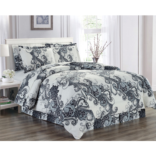 Ultra Soft Microfiber 8 PC Floral Scroll Printed Down Alternative Bed in a Bag, Bedding Set, Queen, King - Holly