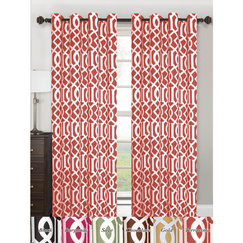 "Single Panel Tori Collection Window Treatment Curtain 55""x 84"" Vibrant Geometric Lattice Design , Grommet Top Hanging Panel"