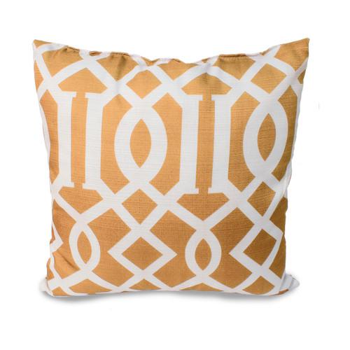 "Tori Geometric Lattic Printed Faux Linen Weave 18""x18"" Decorative Throw Pillow, 2 Pack"