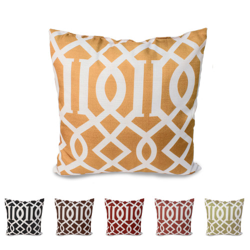 "Tori Geometric Lattic Printed Faux Linen Weave 18""x18"" Decorative Throw Pillow, 2 Pack"