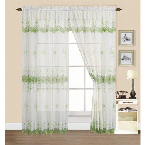 "Kashi Home Esther Collection Rod Pocket Floral Embroidery 55"" x 84"" Sheer Voile Window Treatment Curtain Panel Drape with 18"" Valance"