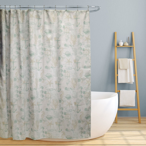 "Fabric Canvas Shower Curtain, 70""x70"", Jamie, Fun Nautical Design"