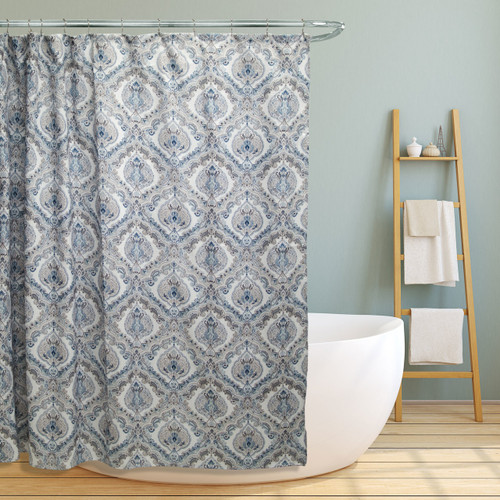 "Fabric Canvas Shower Curtain, 70""x70"", Elaine, Teal Paisley Damask Design"
