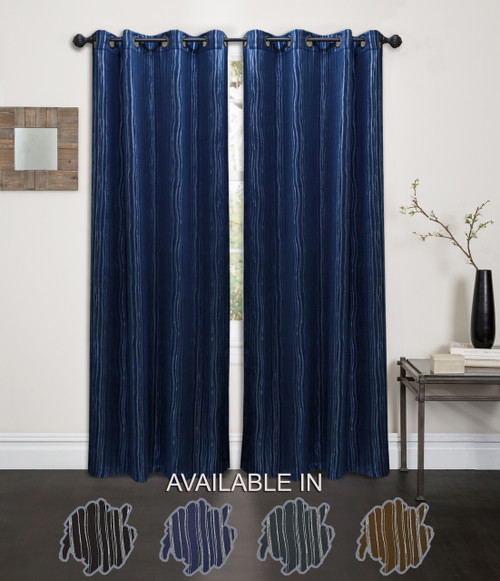"Kashi Home Ella Collection Abstract Foil Printed 54""x84"" Grommet Single Blackout Curtain Panel"