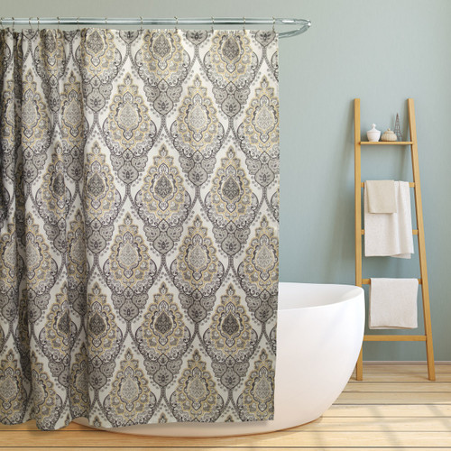 "Linen Store Fabric Canvas Shower Curtain, 70""x70"", Tara, Grey Floral Damask Design (LS-SC028093)"