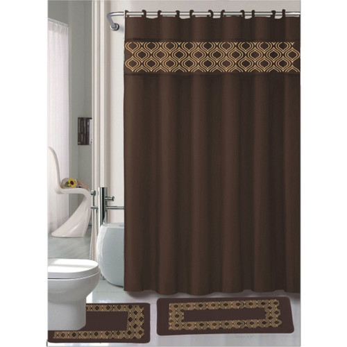 Gabrielle Chocolate 15 Pc Bathroom Accessories Set, Bath Mat, Contour Rug, Shower Curtain With Hooks