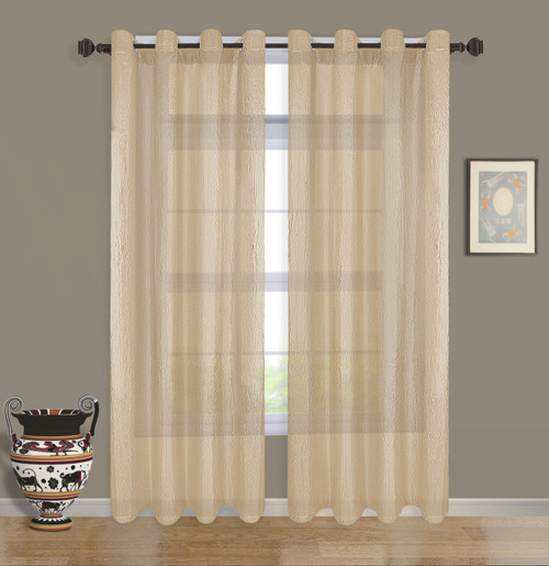 """Claire Window Treatment Semi-Sheer Voile Curtain Panel, 52""""x 84"""", Grommet Crushed Taffeta Light Filtering Drape For Bedroom Living Room, 2 Pack"""