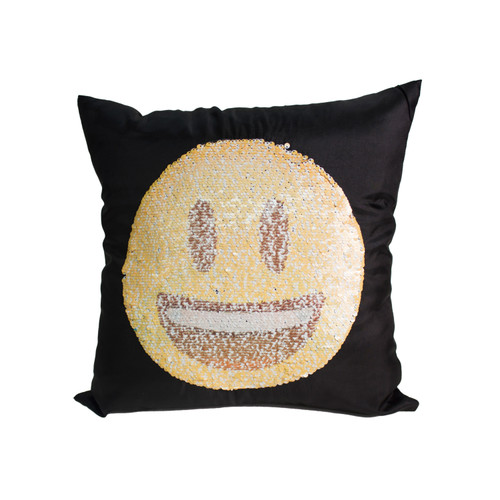 EMOJI SMILE / LAUGH CRY Sequin Throw Pillow 17x17 Inch, Decorative Fun Mermaid Reversible Style with Comfortable Fill For Living Room, Couch, Bedroom (K-PT057043)