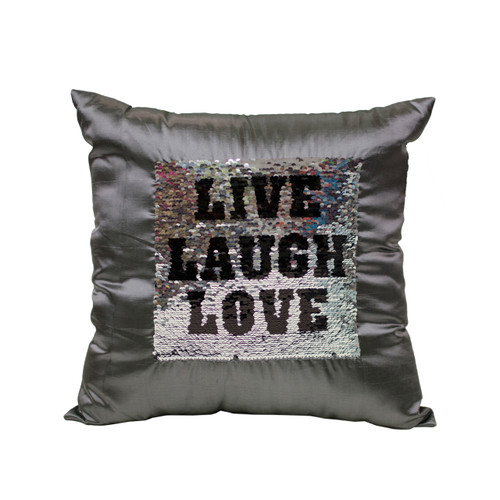LIVE LAUGH LOVE Sequin Throw Pillow 17x17 Inch, Decorative Fun Mermaid Reversible Style with Comfortable Fill For Living Room, Couch, Bedroom (K-PT057050)