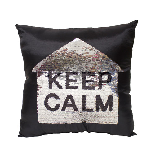 KEEP CALM Sequin Throw Pillow 17x17 Inch, Decorative Fun Mermaid Reversible Style with Comfortable Fill For Living Room, Couch, Bedroom (K-PT057067)