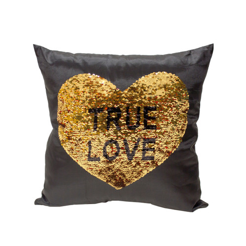 TRUE LOVE Heart Sequin Throw Pillow 17x17 Inch, Decorative Fun Mermaid Reversible Style with Comfortable Fill For Living Room, Couch, Bedroom (K-PT057074)
