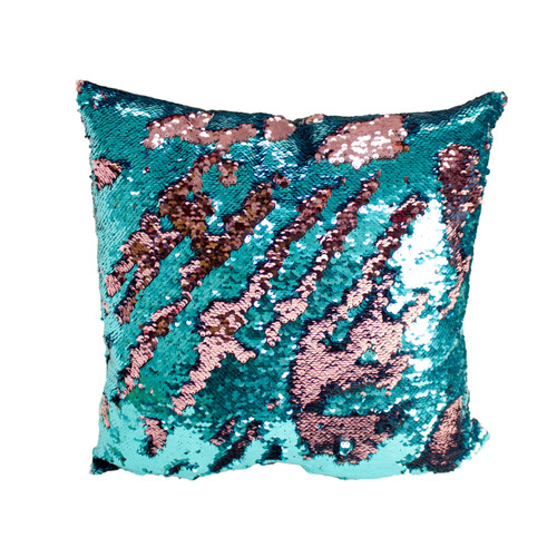 Decorative Sequin Throw Pillow 17x17 Inch, Comfortable Fill For Living Room, Couch, Bedroom, Fun Colorful Mermaid Reversible Style TURQUOISE / PINK (K-PT057098)