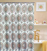 "Luxurious Eclipse Shower Curtain, 70""x70"", Printed Circular Pattern"