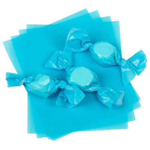 "Light Blue Caramel Wrappers 4"" x 5"" - 1 lb. Pkg"