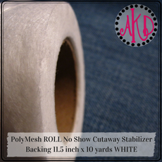 Fusible PolyMesh ROLL No Show Cutaway Stabilizer Backing 11.5 inch x 10 yards WHITE