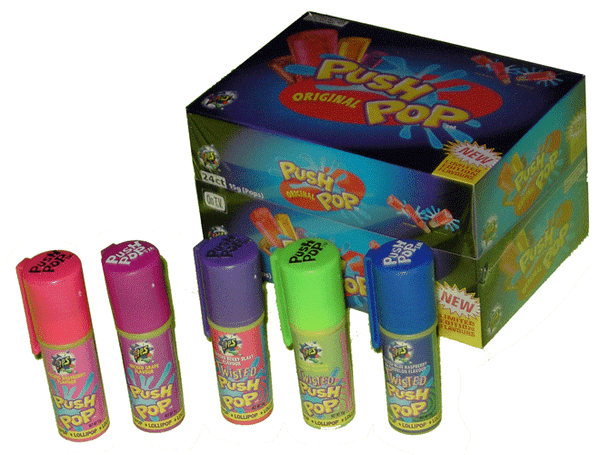 Push Pops, by Myriad Marketing,  and more Confectionery at The Professors Online Lolly Shop. (Image Number :2104)