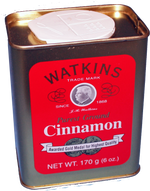 Watkins patented bark 'chipping' process, instead of grinding, insures rich flavor and preservation of the Korintje Cinnamon oils giving this cinnamon a intense aroma and much more flavor than Ceylon Cinnamon. Especially good in apple and peach dishes, also Mexican dishes, tomato sauces, chili, curry, beef stew, and other Savory food dishes. 6 oz Tin.