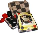 "Old Fashioned Checkers, you can't get any simpler than that! Use your strategy to over come your opponent. Have hours of fun while you're talking about lots of stuff, a perfect way to spend time with friends and family. Rug game, 28""x 28"" with 3"" Red and Black Checkers."