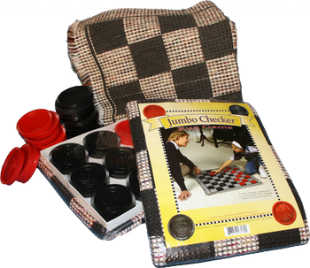 """Old Fashioned Checkers, you can't get any simpler than that! Use your strategy to over come your opponent. Have hours of fun while you're talking about lots of stuff, a perfect way to spend time with friends and family. Rug game, 28""""x 28"""" with 3"""" Red and Black Checkers."""