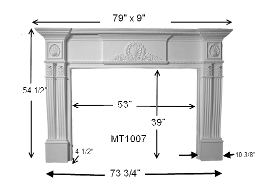 MT1007 Cast Stone Mantel Dimensions