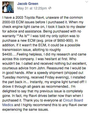 Toyota Rav4 Repair Testimonial