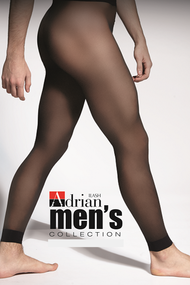 Package design of Adrian footless male tights / mantyhose / pantyhose for men.