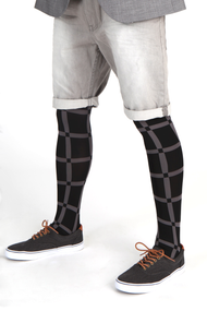 Street / fashion styling suggestion for wearing Emilio Cavallini's Grid male tights / mantyhose / pantyhose for men.
