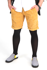Street / fashion styling suggestion for wearing A849 Thermofabric Light Support Tights for Men / mantyhose with Fly