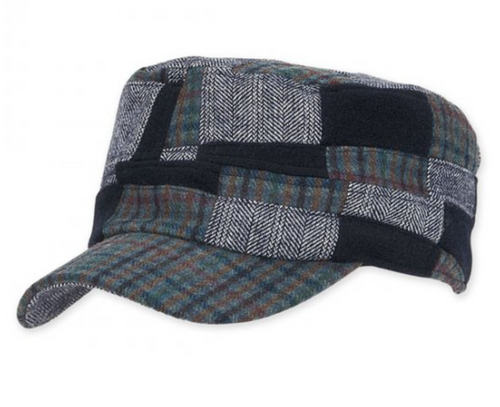 Adora - Navy Erim Checkered Fashion Cadet Cap