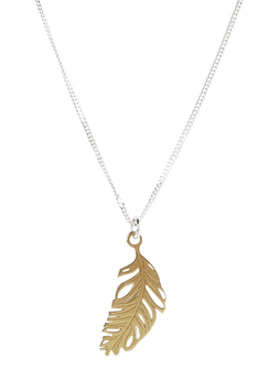 24ct Yellow Gold Vermeil Feather Necklace