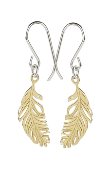 Yellow Gold Feather Earrings