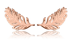 Rose Gold Vermeil Feather Studs