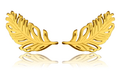 Yellow Gold Feather Studs