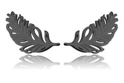 Black Rhodium Feather Studs
