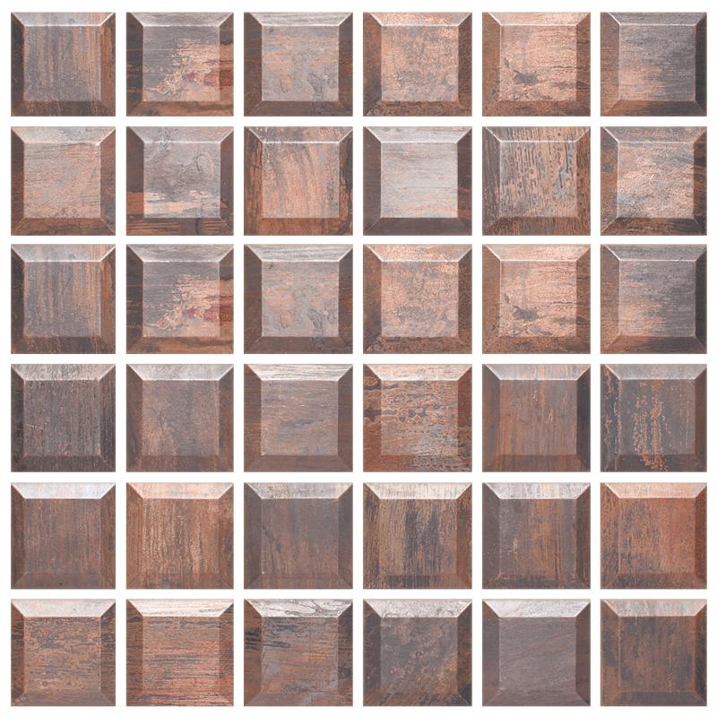 2 x 2 Beveled Copper Mosaic Tile