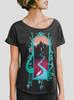 Watercourse - Multicolor on Heather Black Triblend Womens Dolman T Shirt