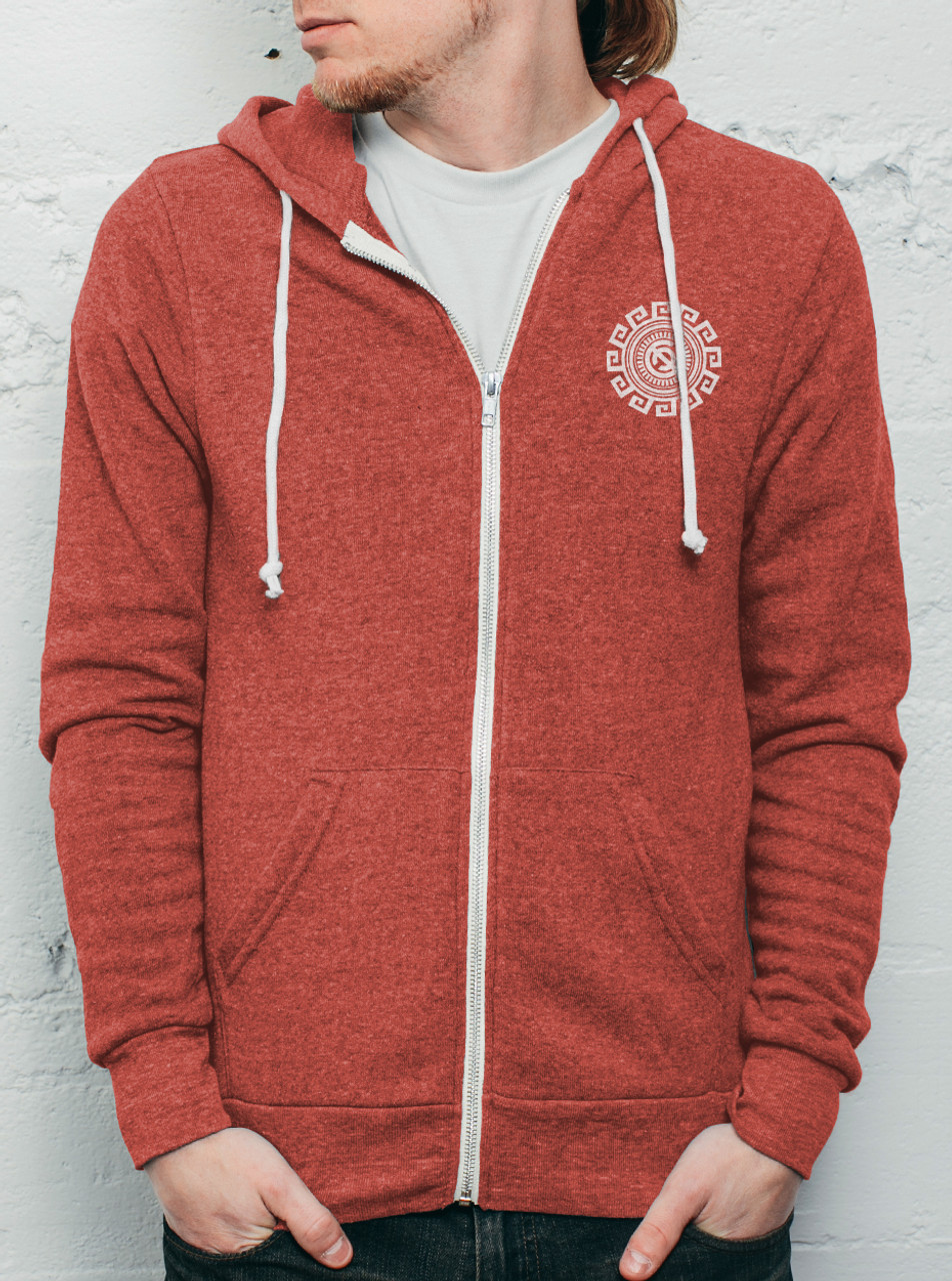 Rotation - White on Heather Red Men's Hoodie - Curbside Clothing