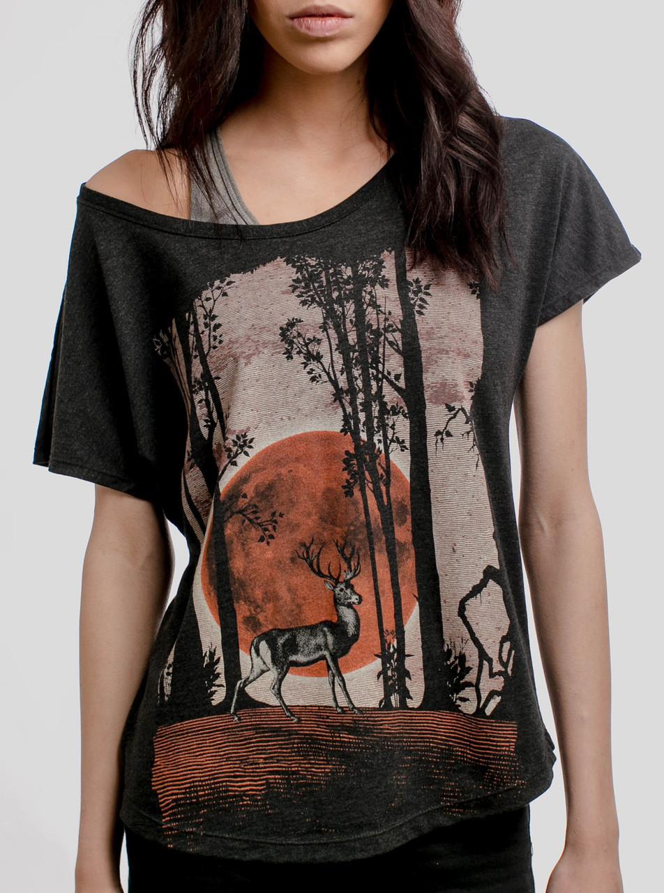 Black t shirt womens - Buck Moon Multicolor On Heather Black Triblend Womens Dolman T Shirt