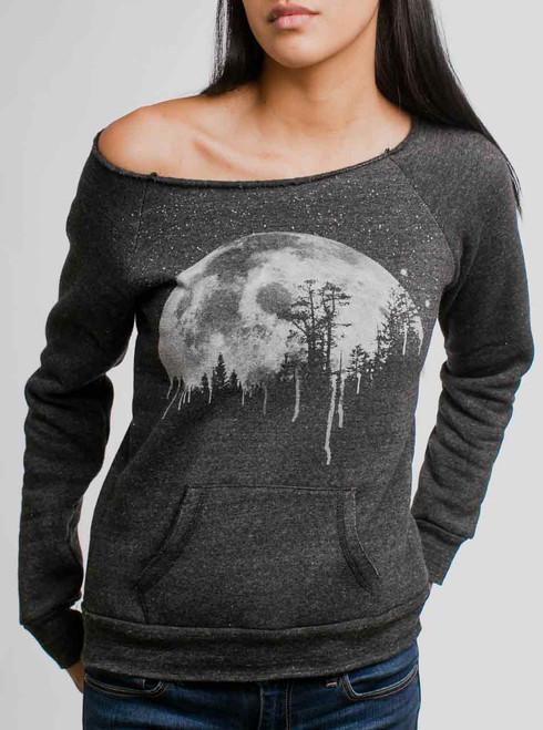 Moon - White on Charcoal Women's Maniac Sweatshirt