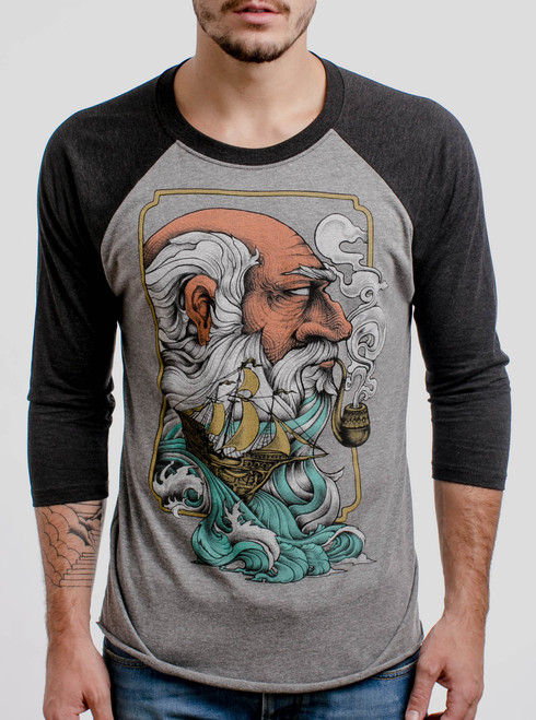 Old Man & the Sea - Multicolor on Heather Grey and Black Triblend Raglan