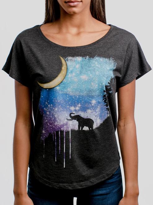 Elephant Moon - Multicolor on Heather Black Triblend Womens Dolman T Shirt