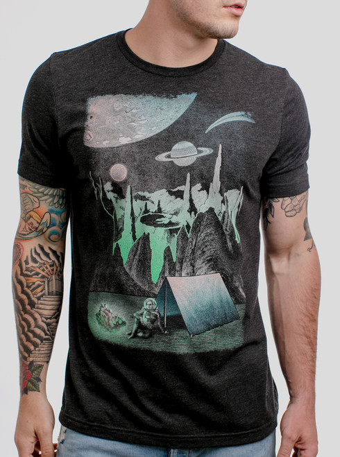 Space Camp - Multicolor on Heather Black Triblend Mens T Shirt