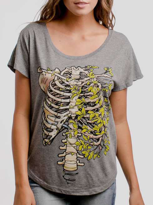 Ribs - Multicolor on Heather Grey Triblend Womens Dolman T Shirt