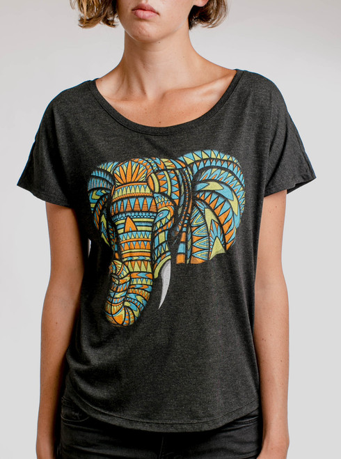 Elephant - Multicolor on Heather Black Triblend Womens Dolman T Shirt