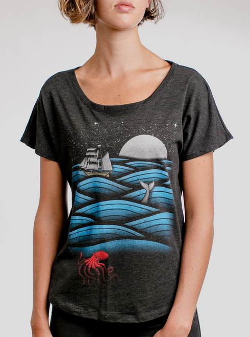 Sea Life - Multicolor on Heather Black Triblend Womens Dolman T Shirt