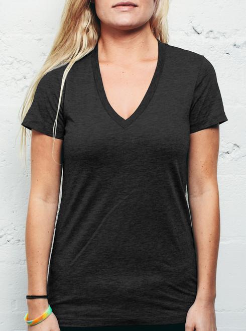 Heather Black Triblend V Neck - Blank Women's Shirt